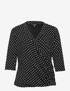 Polka-Dot Wrap-Style Jersey Top - langærmede toppe - polo black/white