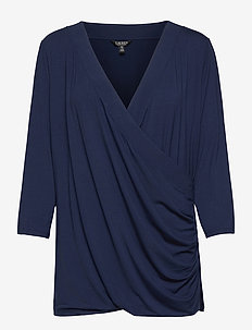 Wrap-Style Jersey Top - langærmede toppe - french navy