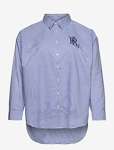 Striped Cotton Broadcloth Shirt - long-sleeved shirts - blue/white multi