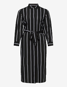 Striped Belted Crepe Shirtdress - blousejurken - polo black/silk w
