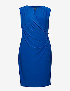 Keyhole Stretch Jersey Dress - PORTUGUESE BLUE