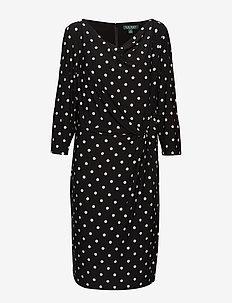 Plus-Size Jersey Cowlneck Dress - BLACK/COLONIAL CR