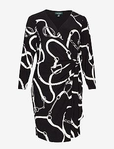 CASONDRA-LONG SLEEVE-DAY DRESS - BLACK/COLONIAL CR