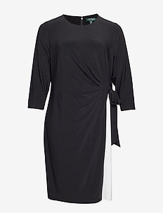 ROBBYANN-3/4 SLEEVE-DAY DRESS - BLACK/LAUREN WHIT