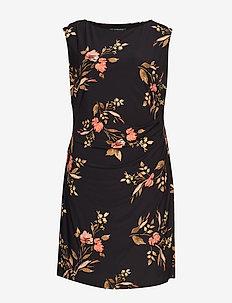 Plus-Size Floral Jersey Cap-Sleeve Dress - BLACK/PINK/MULTI