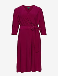 Surplice Jersey Dress - kietaisumekot - very berry