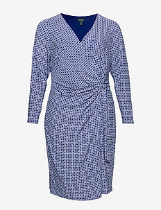 Print Jersey Long-Sleeve Dress - kietaisumekot - parisian blue/col