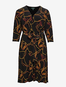Print Fit-and-Flare Dress - kietaisumekot - black/gold/multi