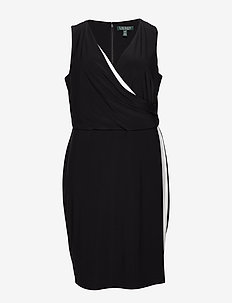 Two-Tone Surplice Dress - kietaisumekot - black/lauren whit