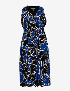 Print Tie-Waist Midi Dress - kietaisumekot - black/regal sapph