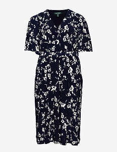 Floral Belted Jersey Dress - kietaisumekot - lh navy/col cream