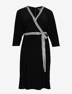 Matte Jersey Wrap-Style Dress - wrap dresses - black