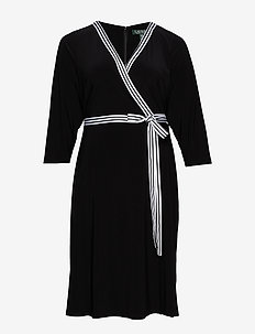 Matte Jersey Wrap-Style Dress - omslagskjoler - black