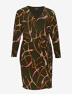 Print Wrap-Style Dress - kietaisumekot - oliva/red/multi