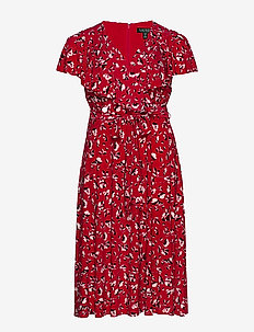 Floral Surplice Dress - omslagskjoler - persimmon/charcoa