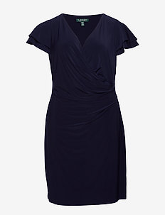 Flutter-Sleeve Surplice Dress - kietaisumekot - lighthouse navy