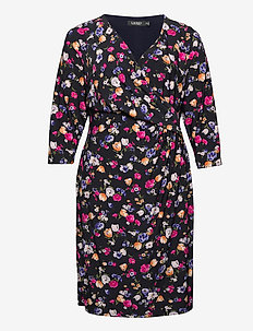 Floral Jersey Surplice Dress - zomerjurken - lighthouse navy/p