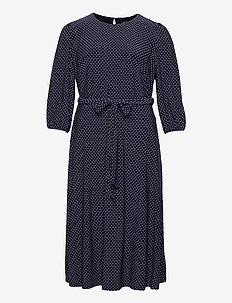 Polka-Dot Balloon-Sleeve Dress - everyday dresses - lighthouse navy/c