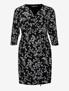 Floral Jersey Surplice Dress - cocktailjurken - black/colonial cr