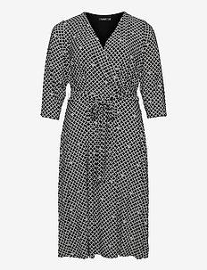 Logo-Print Jersey Surplice Dress - alledaagse jurken - black/colonial cr