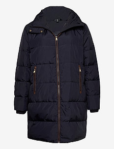 Faux Leather-Trimmed Down Coat - dunkappor - dk navy