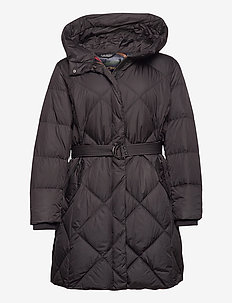 MATTE FINISH-DN COZY BELTED COAT - padded coats - black