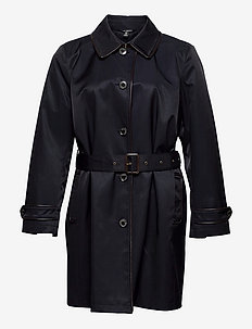 Faux Leather–Trim Trench Coat - trenchcoats - dk navy