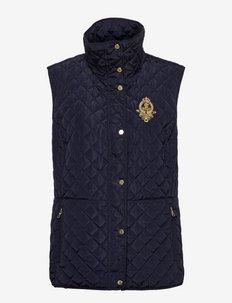 Bullion-Crest Quilted Vest - puffer vests - dk navy