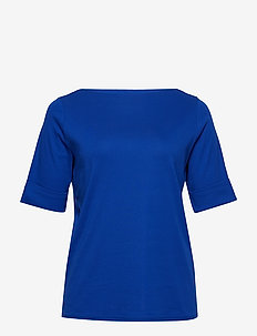 Stretch Cotton Boatneck Tee - BLUE OCEAN
