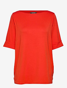 Stretch Cotton Boatneck Tee - SPORTING ORANGE