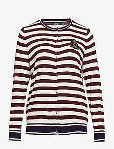 Plus Size Bullion-Patch Cotton Cardigan - RIOJA/MASCARPONE