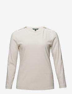 Zipper-Trim Cotton-Blend Top - MASCARPONE CREAM