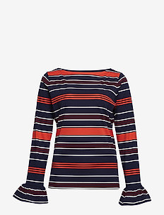 Striped Bell-Cuff Top - topy z długimi rękawami - multi