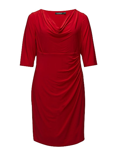JERSEY COWLNECK DRESS - SIGNATURE RED