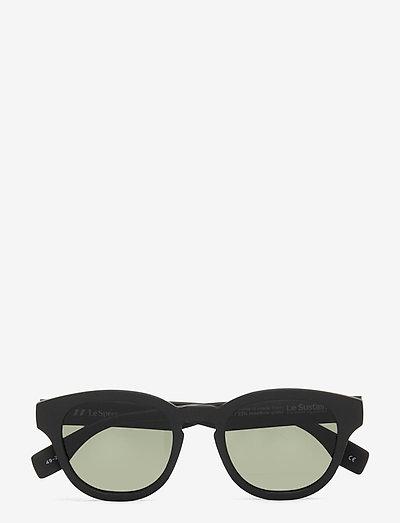 LE SUSTAIN - GRASS BAND - okrągłe okulary przeciwsłoneczne - black grass w/ khaki mono lens