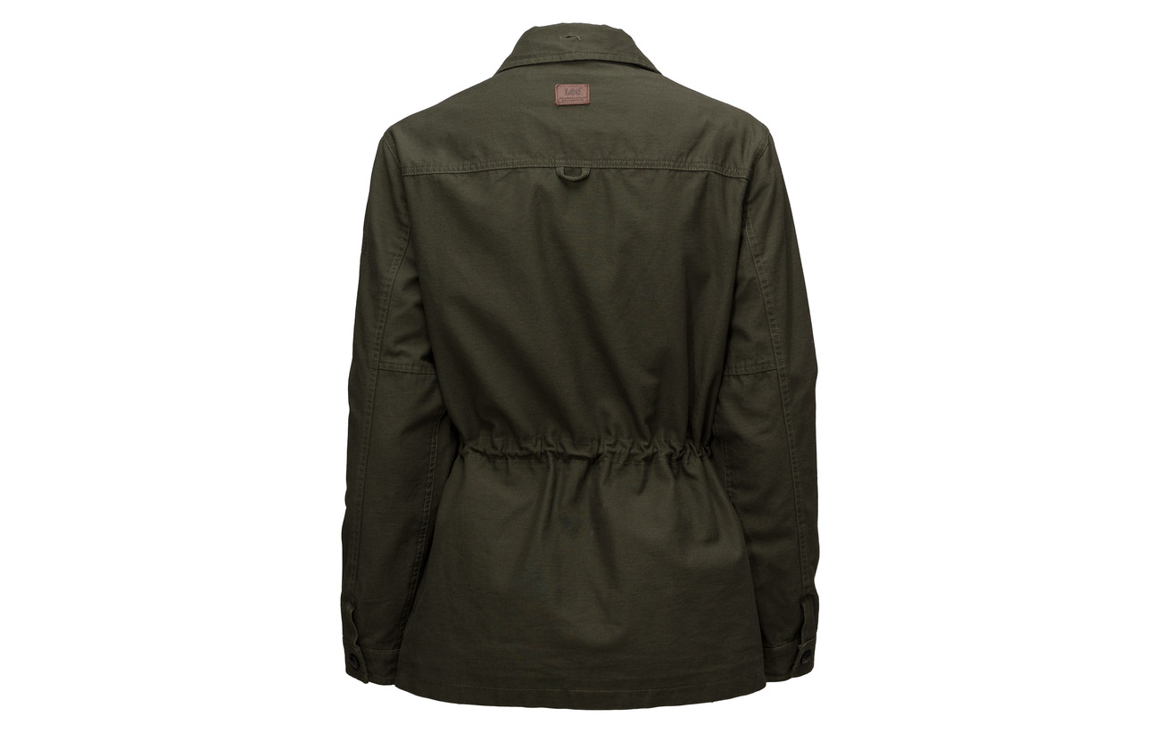 Jacket 100 Coton Jeans Trimmed Lee Fur Dark Military tF4Un