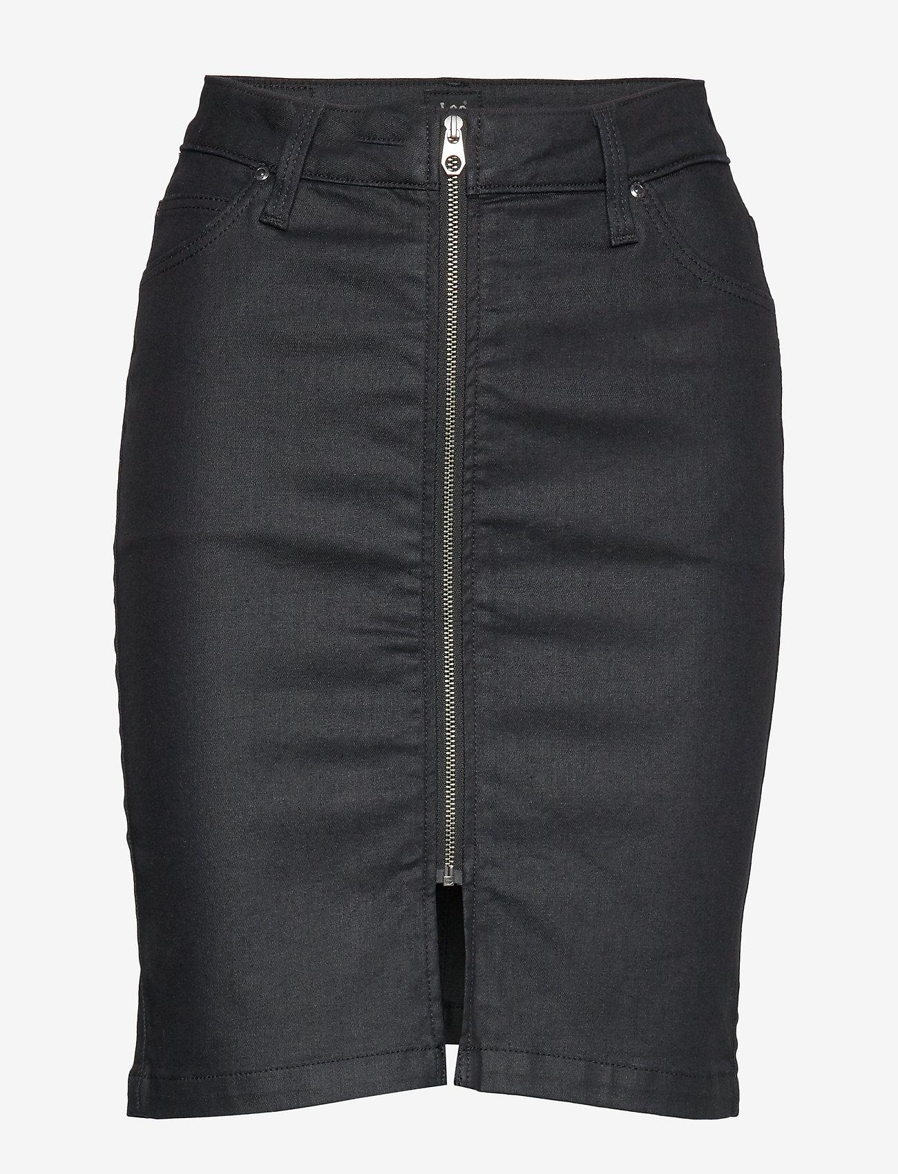 Lee Jeans - HIGH WAIST ZIP SKIRT - denimskjørt - coated leola - 0