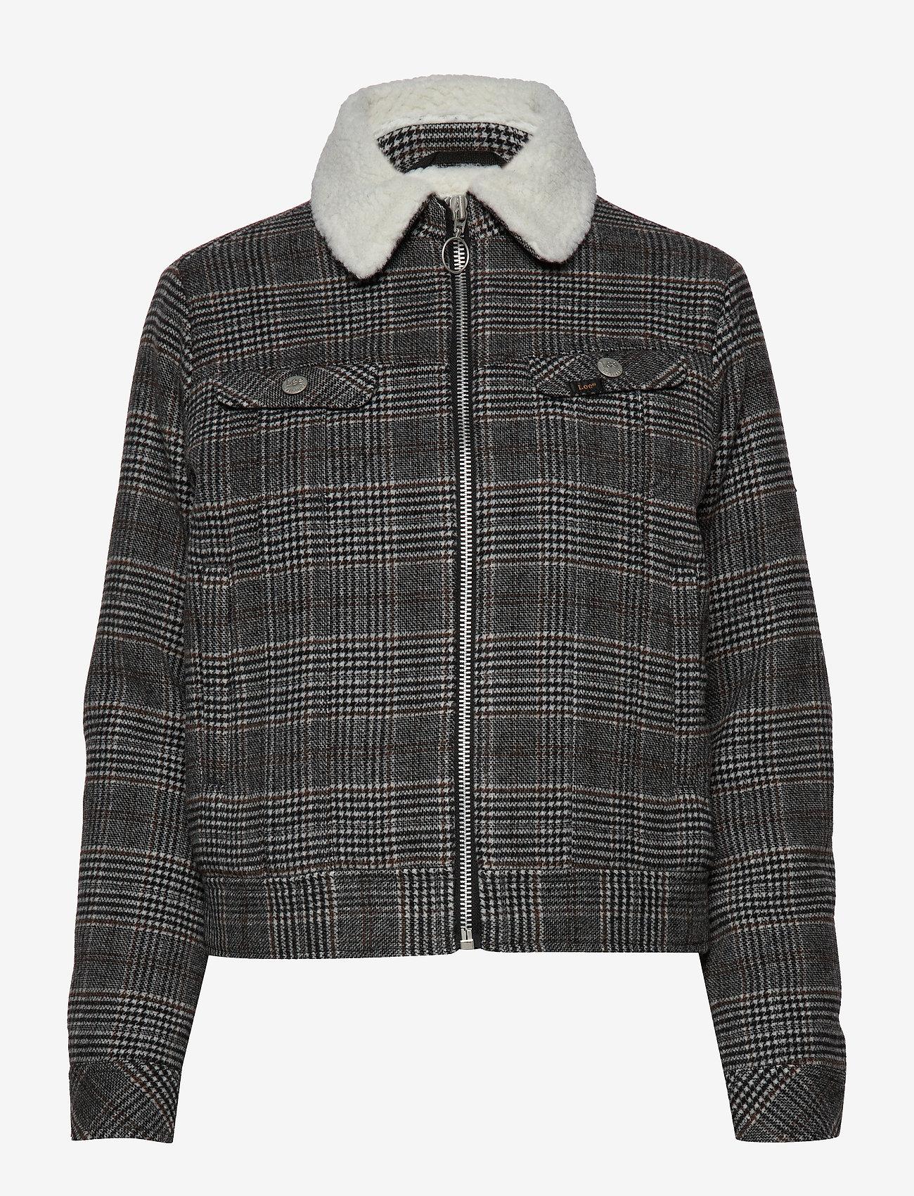 Lee Jeans - WOOL CHECK SHERPA JK - wełniane kurtki - khaki - 0