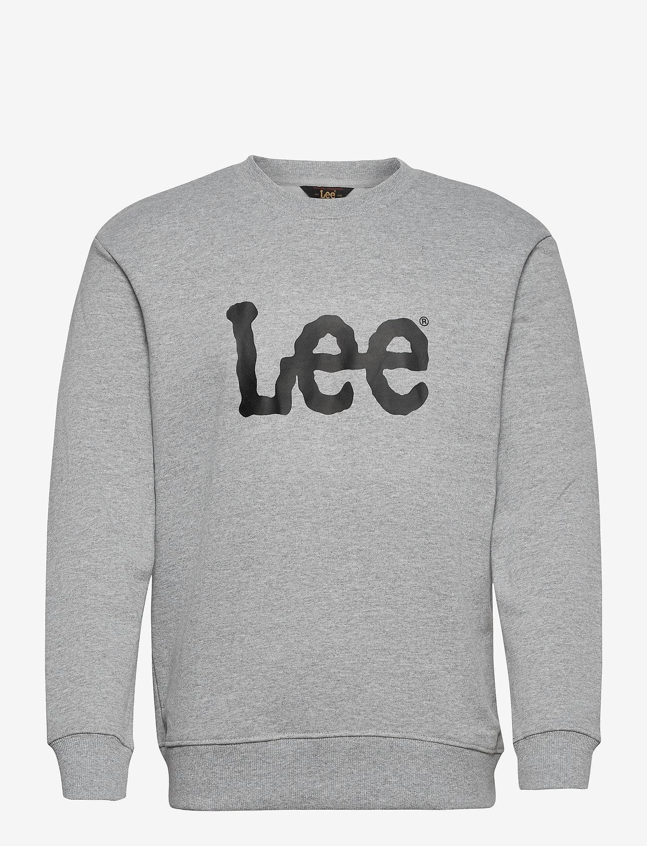 Lee Jeans - BASIC CREW LOGO SWS - tops - grey mele - 0