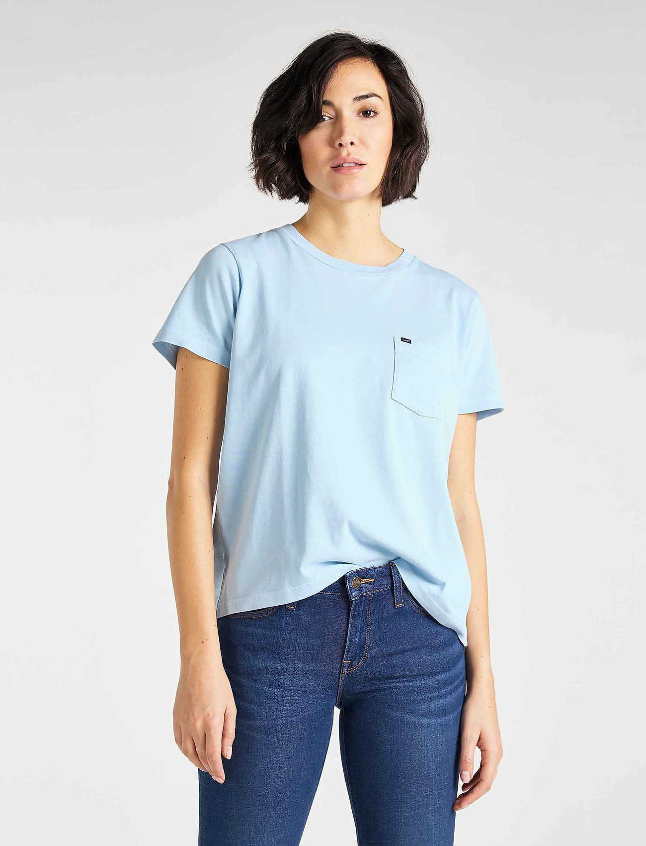 Lee Jeans - GARMENT DYED TEE - t-shirts - sky blue - 0