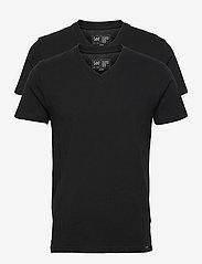 Lee Jeans - 2-PACK V NECK - basic t-shirts - black - 0