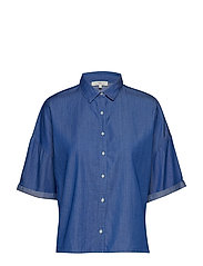 CROPPED SHIRT - DIPPED BLUE