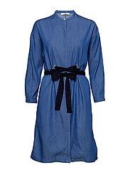 EYELET DRESS - DIPPED BLUE
