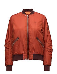 SATEEN BOMBER - RUST ORANGE