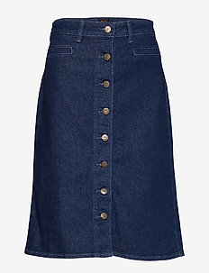 BUTTON THROUGH SKIRT - denim skirts - dark wilma