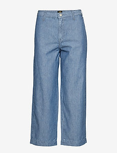 WIDE LEG - vide jeans - chambray