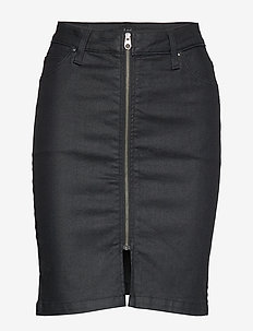 HIGH WAIST ZIP SKIRT - COATED LEOLA
