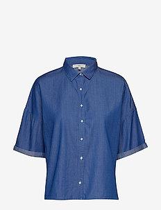 CROPPED SHIRT - kortærmede skjorter - dipped blue