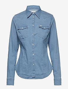 SLIM WESTERN - long-sleeved shirts - heather blue