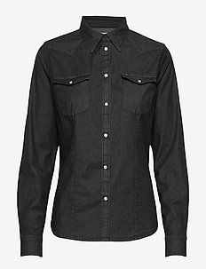 SLIM WESTERN - denim shirts - black